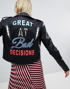 Байкерская куртка из искусственной кожи с вышивкой и заклепками Only - Черный