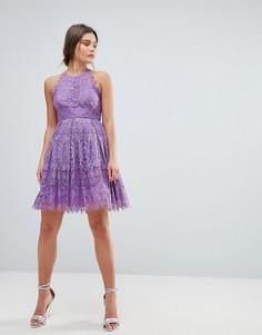 Кружевное платье мини для выпускного ASOS - Фиолетовый