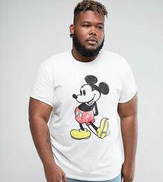 Свободная футболка с винтажным принтом Микки Мауса и отворотами на рукавах ASOS DESIGN Plus - Белый