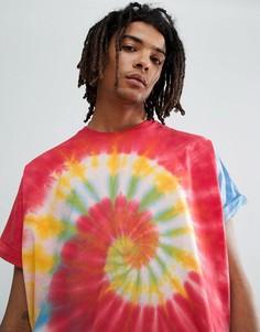 Удлиненная oversize-футболка с отворотами на рукавах и ярким спиралевидным принтом тай-дай ASOS DESIGN - Мульти