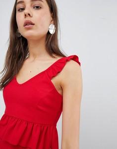 Кроп-топ с оборками New Look - Красный