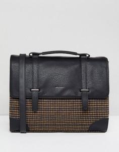 Черная сумка-сэтчел с отделением для ноутбука и принтом в клетку ASOS DESIGN - Черный