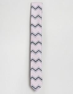 Розовый узкий галстук с шевронным узором ASOS DESIGN - Розовый