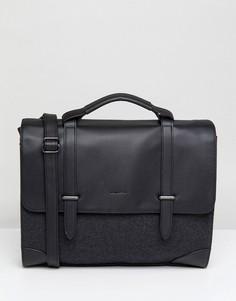 Серый портфель из мельтона и искусственной кожи с внутренним отделением для ноутбука ASOS DESIGN - Черный