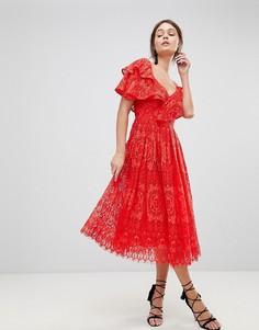 Кружевное платье для выпускного на одно плечо ASOS - Красный