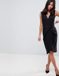 Платье-футляр миди с запахом и поясом ASOS - Черный