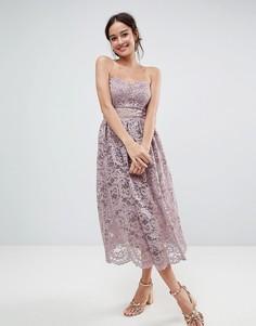 Кружевное платье-бандо миди для выпускного ASOS DESIGN - Розовый