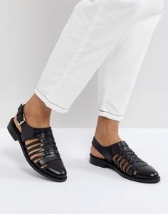 Кожаные туфли на плоской подошве ASOS MARYLEBONE - Черный