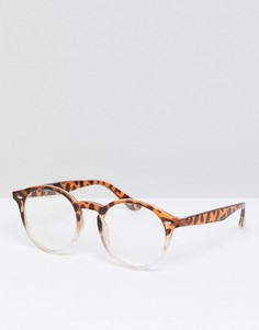 Круглые очки в черепаховой оправе с прозрачными стеклами ASOS DESIGN - Коричневый
