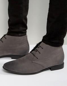 Серые ботинки из искусственной замши со шнуровкой ASOS DESIGN - Серый