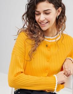 Кардиган в рубчик с контрастной окантовкой ASOS DESIGN - Желтый