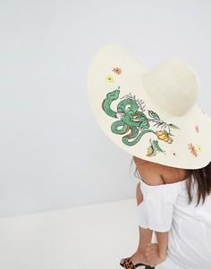 Шляпа с широкими полями и вышивкой ASOS - Бежевый