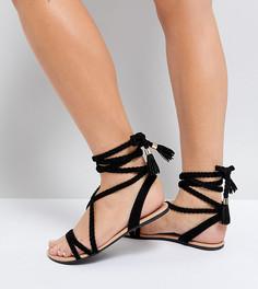 Плетеные сандалии для широкой стопы с завязкой ASOS FAYLA - Черный