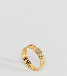 Трехрядное кольцо из позолоченного серебра с гравированным узором ASOS - Золотой