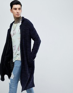 Темно-синее легкое меланжевое пальто ASOS DESIGN - Темно-синий
