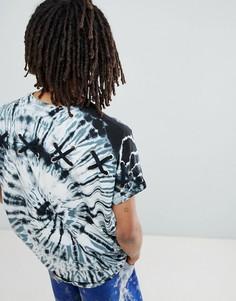 Удлиненная oversize-футболка с отворотами, принтом тай-дай и люверсами ASOS DESIGN - Серый