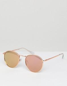 Золотисто-розовые круглые солнцезащитные очки в стиле 90-х ASOS - Медный