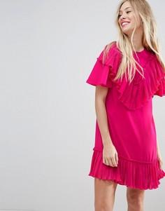 Платье мини А-силуэта с плиссированной оборкой ASOS - Розовый