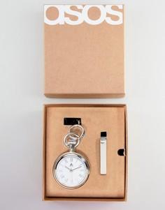 Подарочный набор с карманными часами и зажимом для галстука ASOS DESIGN Wedding - Серебряный