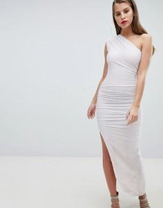 Асимметричное сетчатое платье на одно плечо Forever Unique - Белый