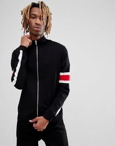 Черная трикотажная спортивная куртка с полосками на рукавах ASOS - Черный