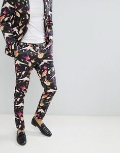 Облегающие брюки с принтом ASOS DESIGN - Черный