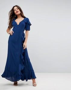 Платье макси с короткими рукавами, оборками и запахом ASOS - Темно-синий