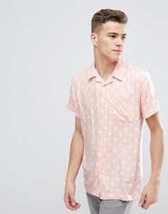 Рубашка в винтажном стиле с принтом в горошек D-Struct - Розовый