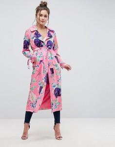 Длинное пальто с цветочным принтом ASOS - Мульти