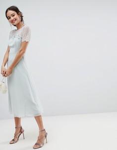 Платье миди с кружевной вставкой ASOS - Зеленый