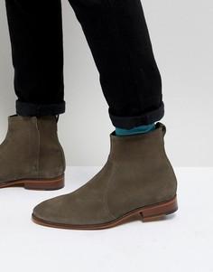 Серые замшевые ботинки челси с натуральной подошвой ASOS DESIGN - Серый