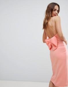 Премиум-платье с запахом и бантом на спине ASOS DESIGN - Розовый