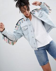 Фестивальная джинсовая oversize-куртка с отделкой пайетками и кисточками ASOS DESIGN - Синий