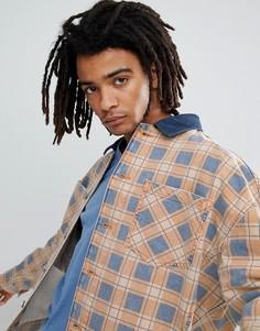 Джинсовая оверсайз-куртка в клетку ASOS DESIGN - Оранжевый