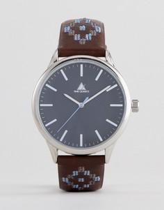 Часы с коричневым ремешком из искусственной кожи и контрастной ацтекской отделкой ASOS DESIGN - Черный