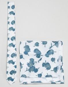 Галстук и платок для пиджака мятного цвета с цветочным принтом ASOS DESIGN - Зеленый