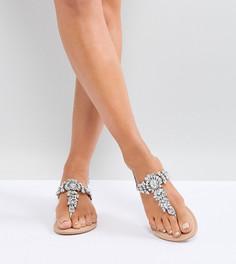 Декорированные кожаные сандалии для широкой стопы ASOS FAIRLIGHT - Серебряный