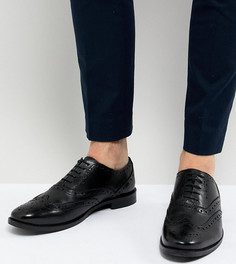 Черные кожаные броги для широкой стопы ASOS DESIGN - Черный