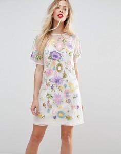 Платье-футболка с вышивкой ASOS PREMIUM - Белый