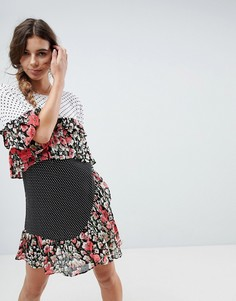 Свободное платье мини с принтом и оборками ASOS - Мульти