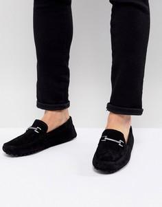 Черные замшевые мокасины с пряжками ASOS - Черный