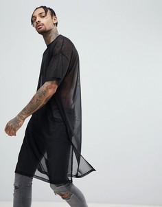 Черная сетчатая удлиненная футболка с разрезами по бокам ASOS DESIGN - Черный