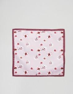 Розовый платок для пиджака с цветочным принтом ASOS DESIGN - Розовый