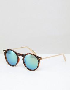 Круглые черепаховые солнцезащитные очки с металлическими дужками ASOS - Коричневый