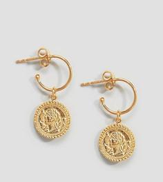 Позолоченные серебряные серьги-кольца ASOS DESIGN - Золотой