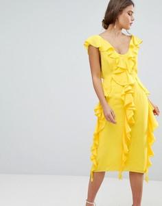 Платье миди без рукавов с оборками ASOS DESIGN - Желтый