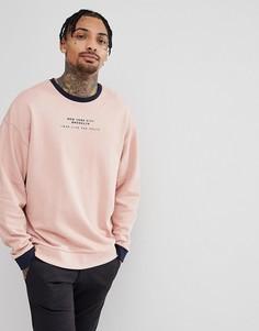 Розовый oversize-свитшот с контрастным принтом ASOS DESIGN - Розовый