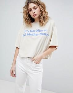Укороченная футболка с логотипом Weekday - Кремовый