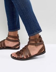 Кожаные гладиаторские сандалии ASOS DESIGN - Коричневый