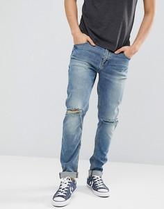 Рваные выбеленные джинсы скинни ASOS DESIGN - Синий